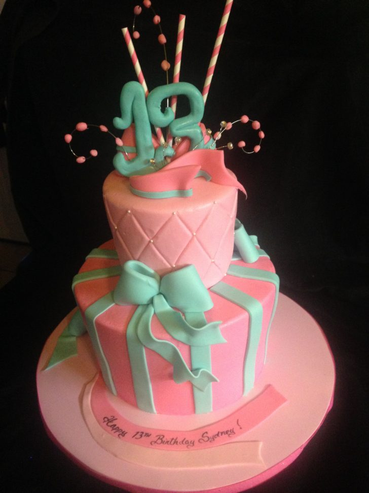 13Th Birthday Cakes Happy 13th Birthday A Butter Cream And Fondant Details 2 Tier Design