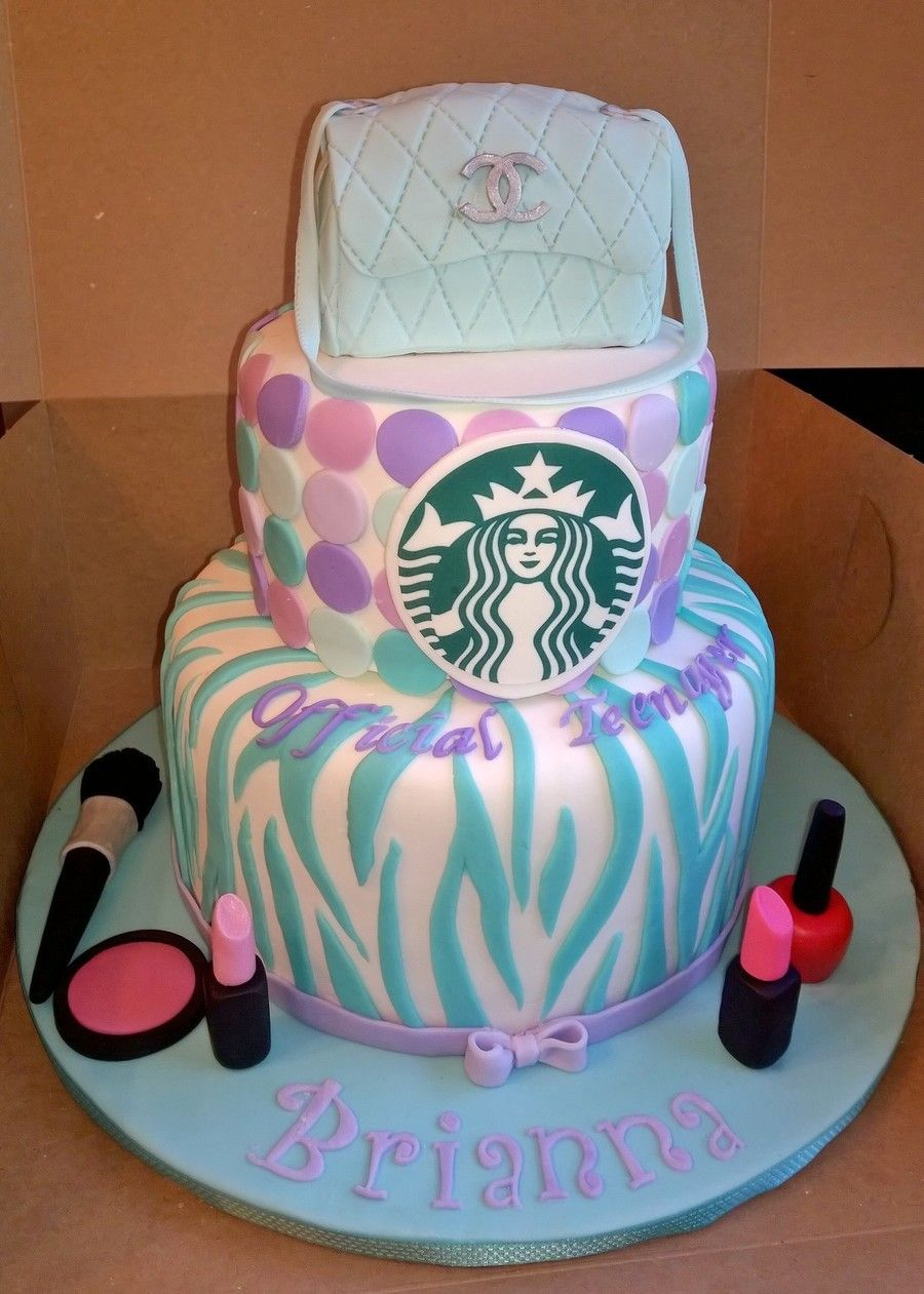 13Th Birthday Cakes Teal And Purple Official Teenager 13th Birthday Cake With Starbucks