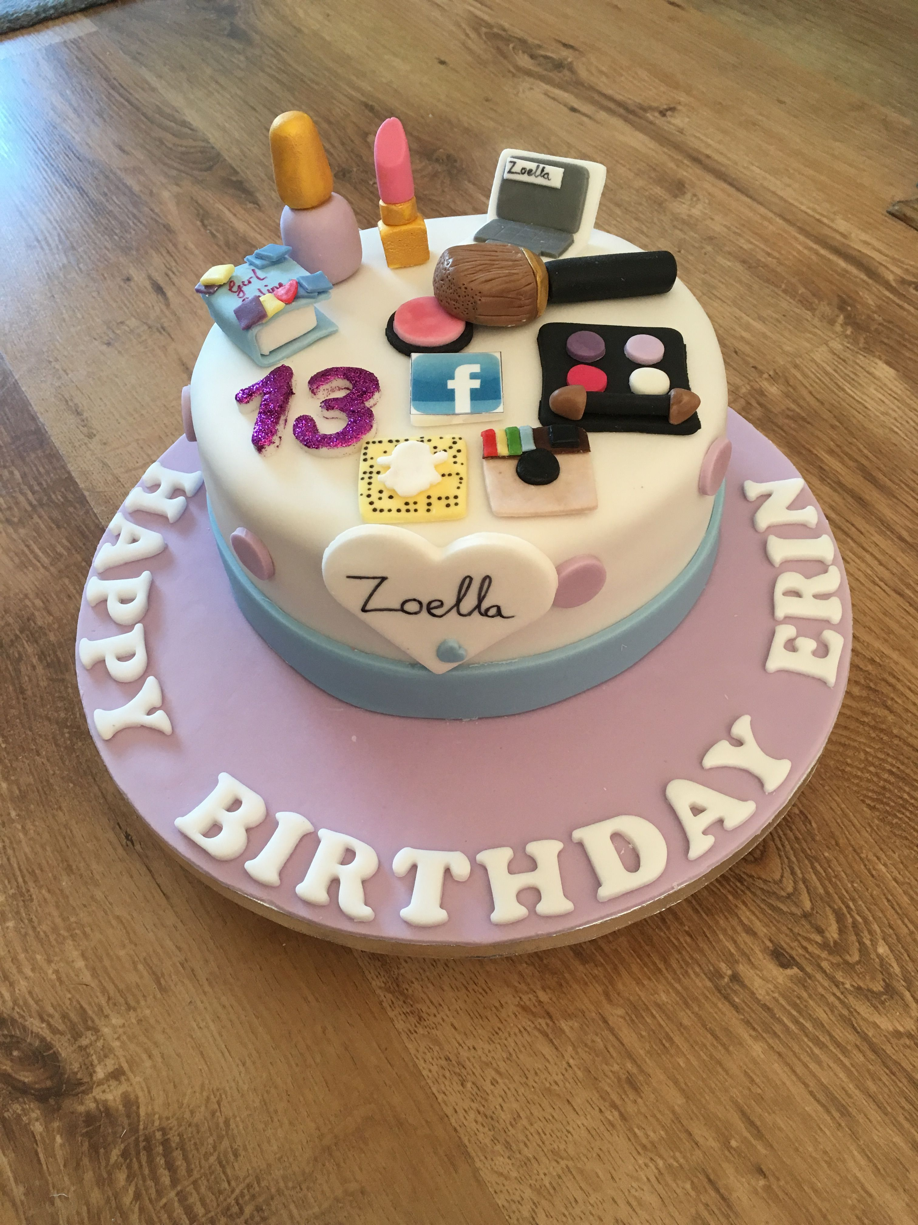13Th Birthday Cakes Zoella Theme Birthday Cake For 13 Year Old Bday Party Pinterest