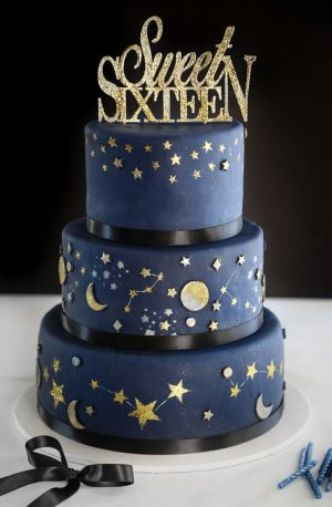 16Th Birthday Cakes Celestial Sweet Sixteen Cake In 2019 Sprinkle Baked Pinterest