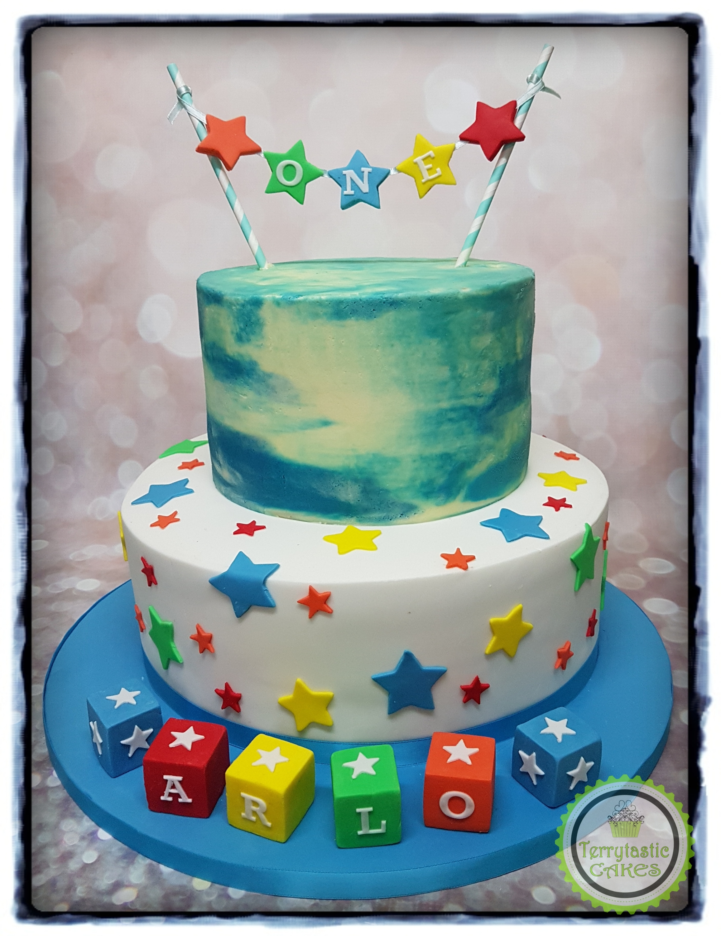 1St Birthday Cake Boy 1st Birthday Building Blocks Cake Boy Terrytastic Cakes