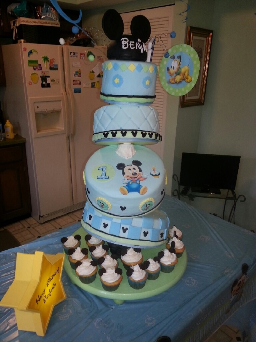 1St Birthday Cake Boy Ba Mickey Cake For Boy First Birthday Cakecentral