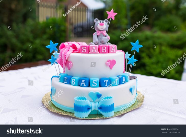 1St Birthday Cake Boy Birthday Cake Ba Boy Girl Twins Stock Photo Edit Now 432272341