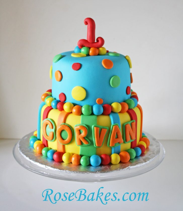 1St Birthday Cake Boy Bright Stripes Polka Dots 1st Birthday Cake