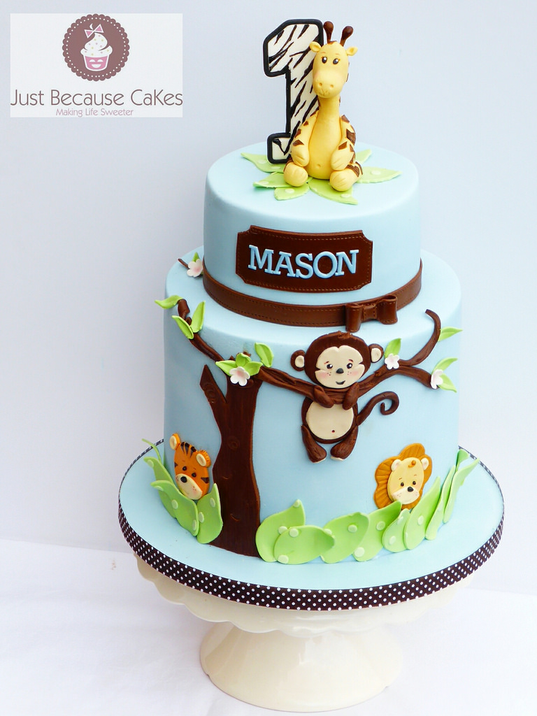 1St Birthday Cake Boy Jungle Animals First Birthday Cake For A Boy A Giraffe A Flickr