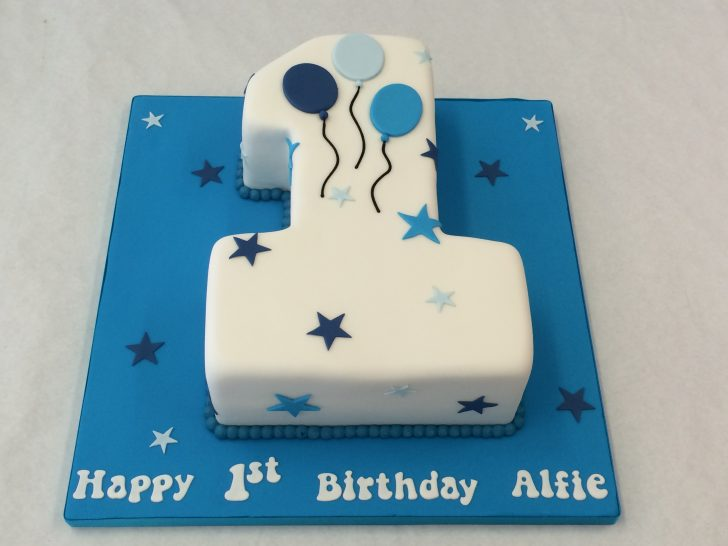 1St Birthday Cake Boy Small Number One Cake With Balloons Childrens Birthday Cakes