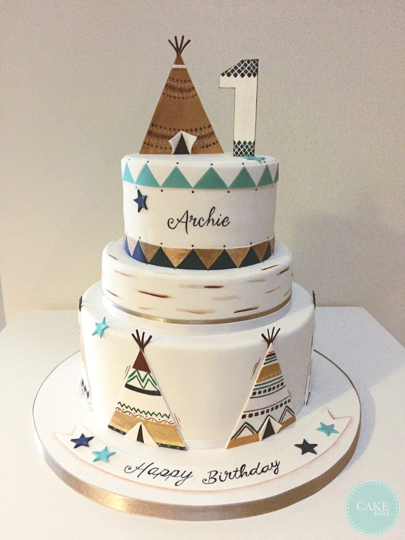 1St Birthday Cake Boy Teepee 1st Birthday Cake Cake Bites Taata Birthday First
