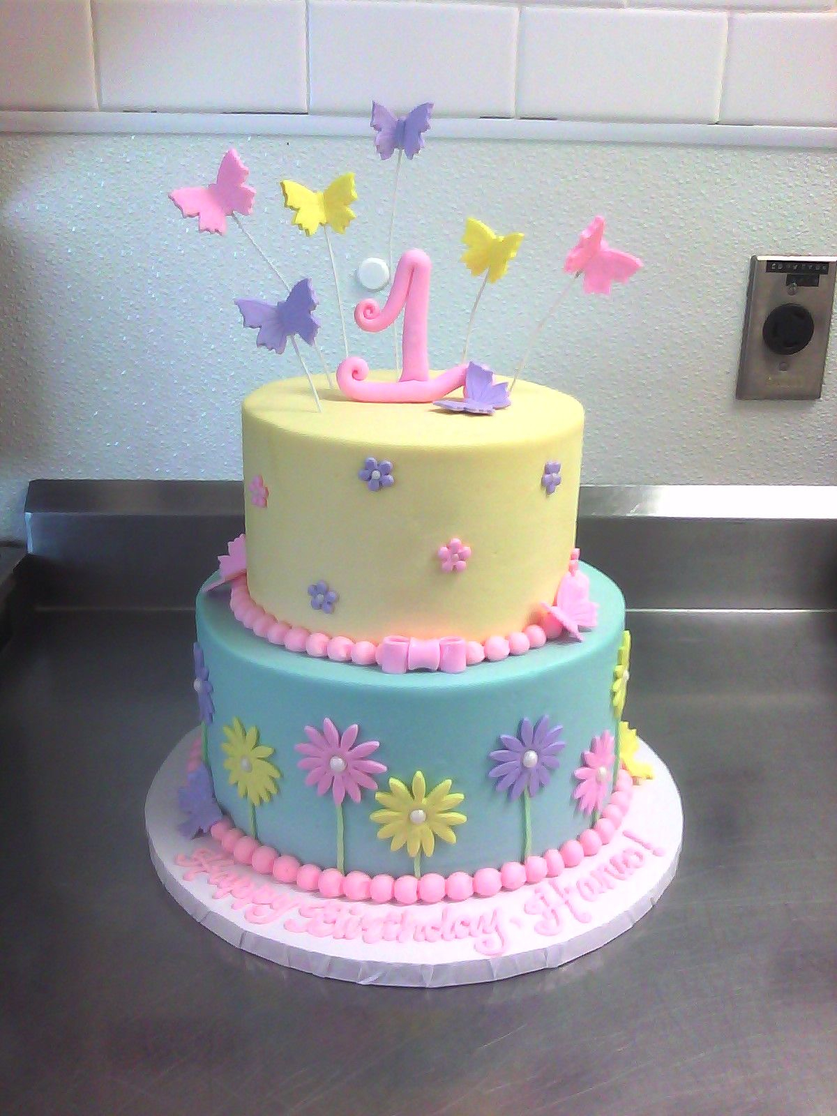 1St Birthday Cake For Girl 1st Birthday Cake With Butterflies Flowers Birthday Cakes Cake