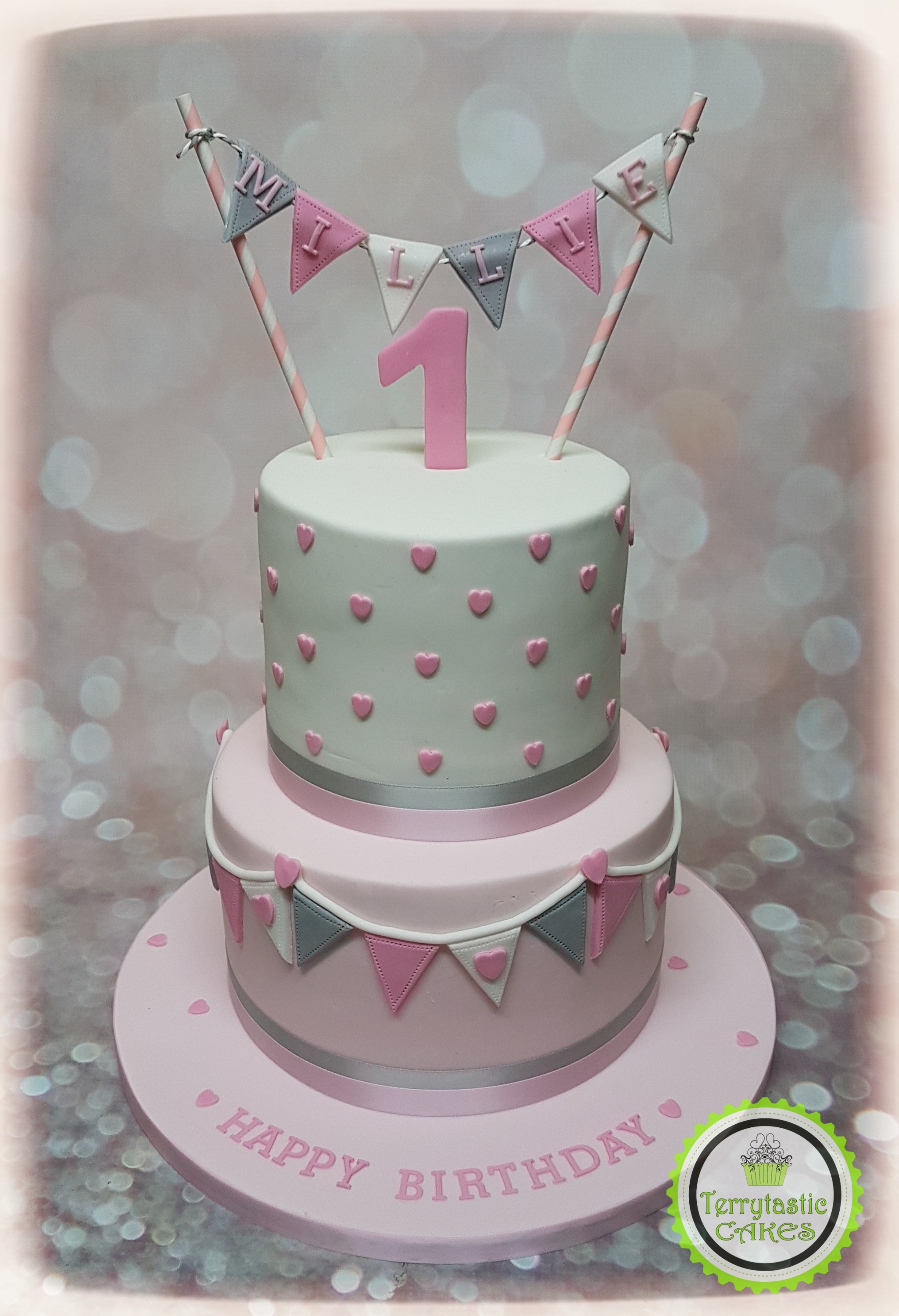 1St Birthday Cake For Girl Pink Grey Bunting 1st Birthday Cake Girl Terrytastic Cakes
