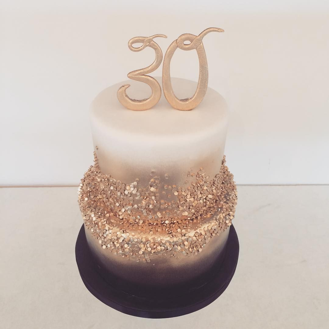 30Th Birthday Cake Ideas Black Gold And White 30th Birthday Cake Happy Birthday Sabreen