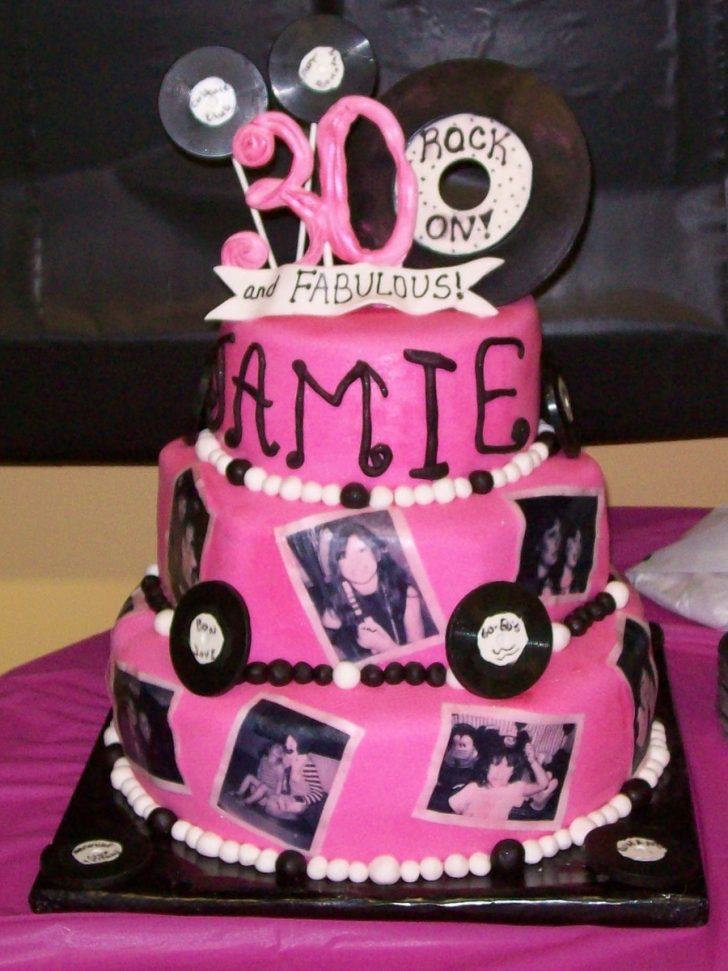 30Th Birthday Cake Ideas Pink And Black 30th Birthday Cake With Edible Photos Cakecentral