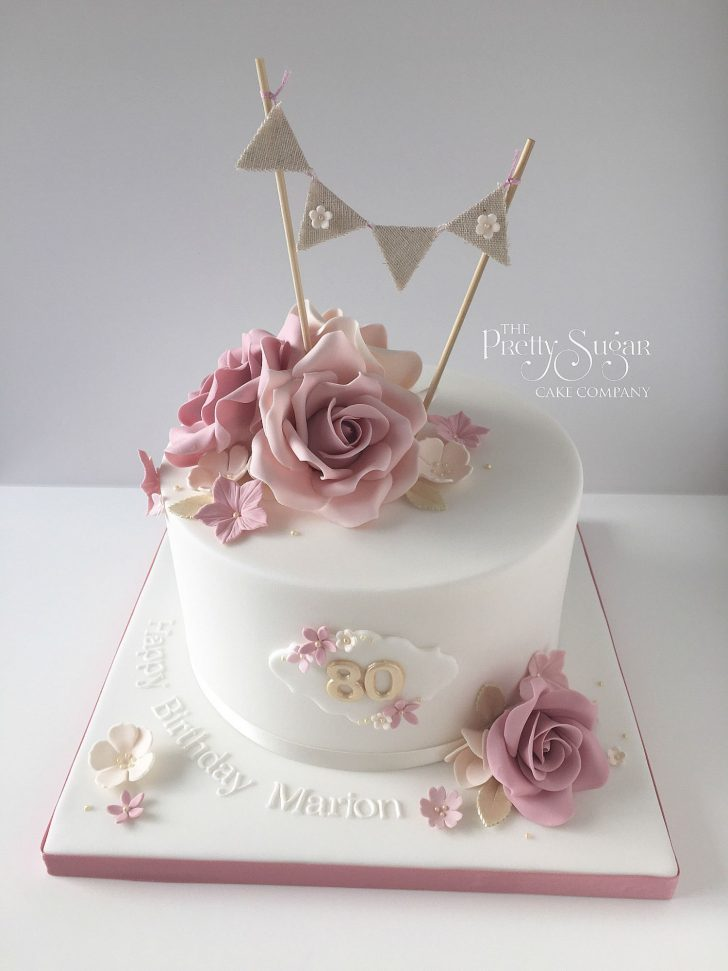 40Th Birthday Cakes For Her Vintage Style 80th Birthday Cake With Sugar Roses And Bunting Topper
