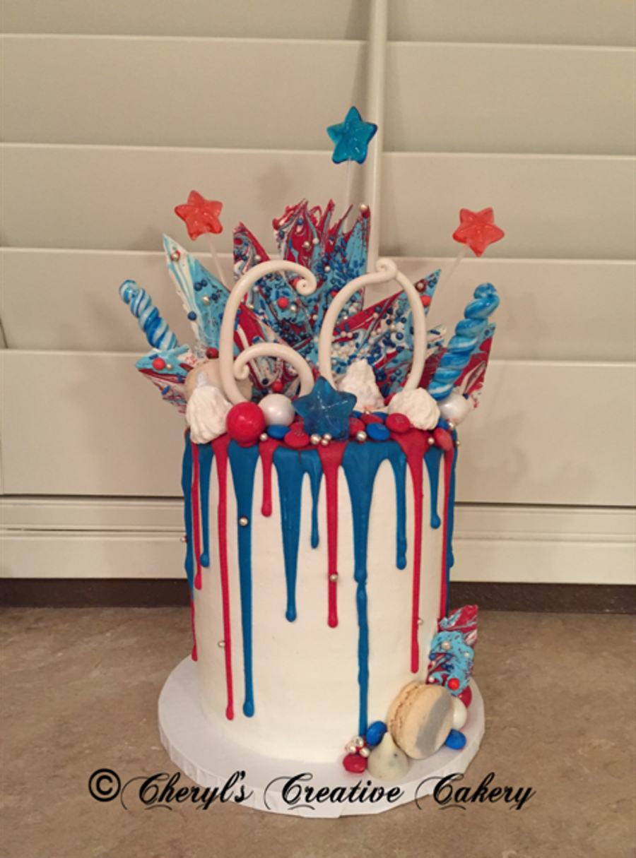 4Th Of July Birthday Cakes Birthday 4th Of July Drip Cake On Cake Central Cheryls Creative