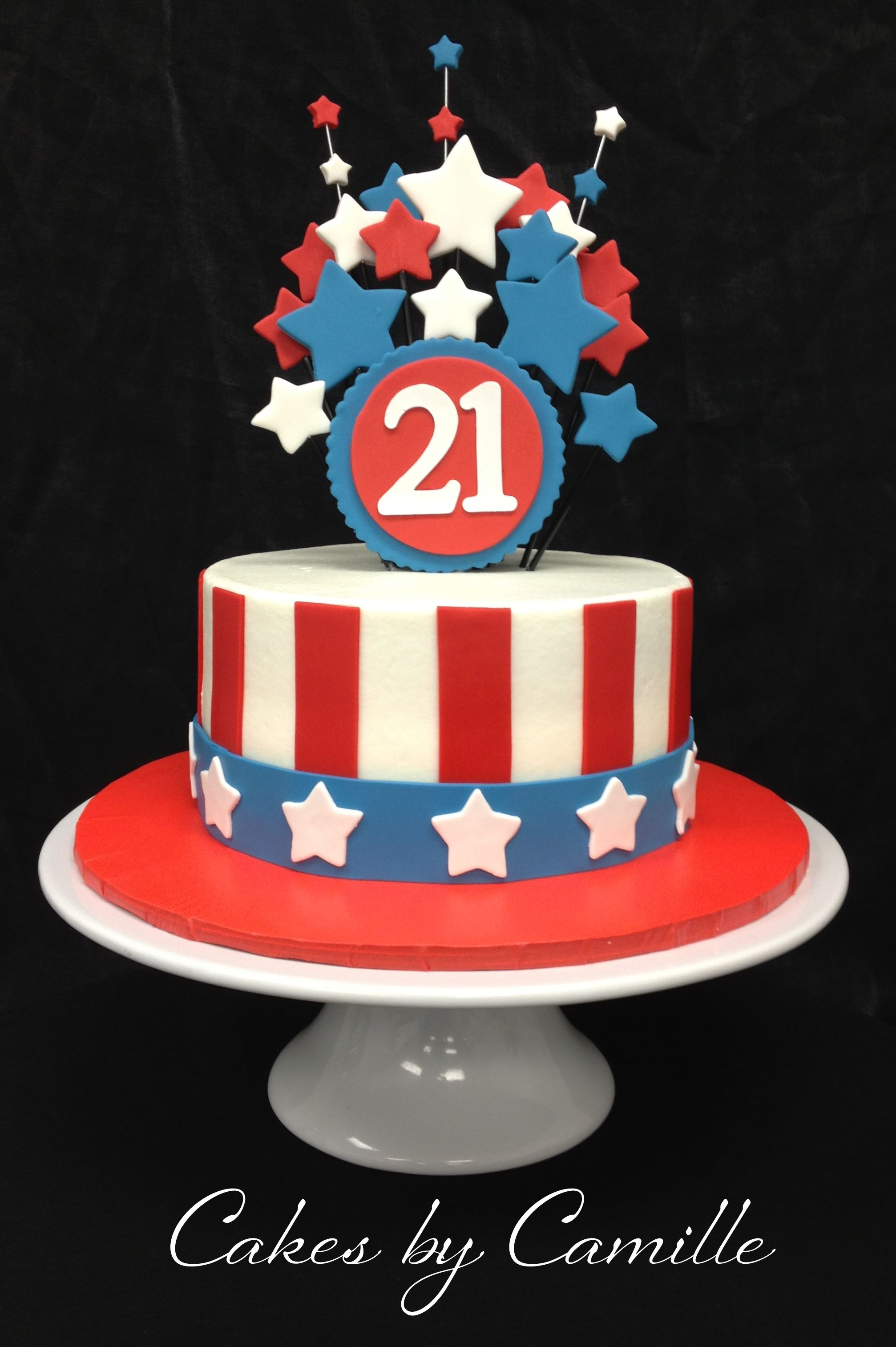 4Th Of July Birthday Cakes Fourth Of July Birthday Cake Red White And Blue Birthday Cake