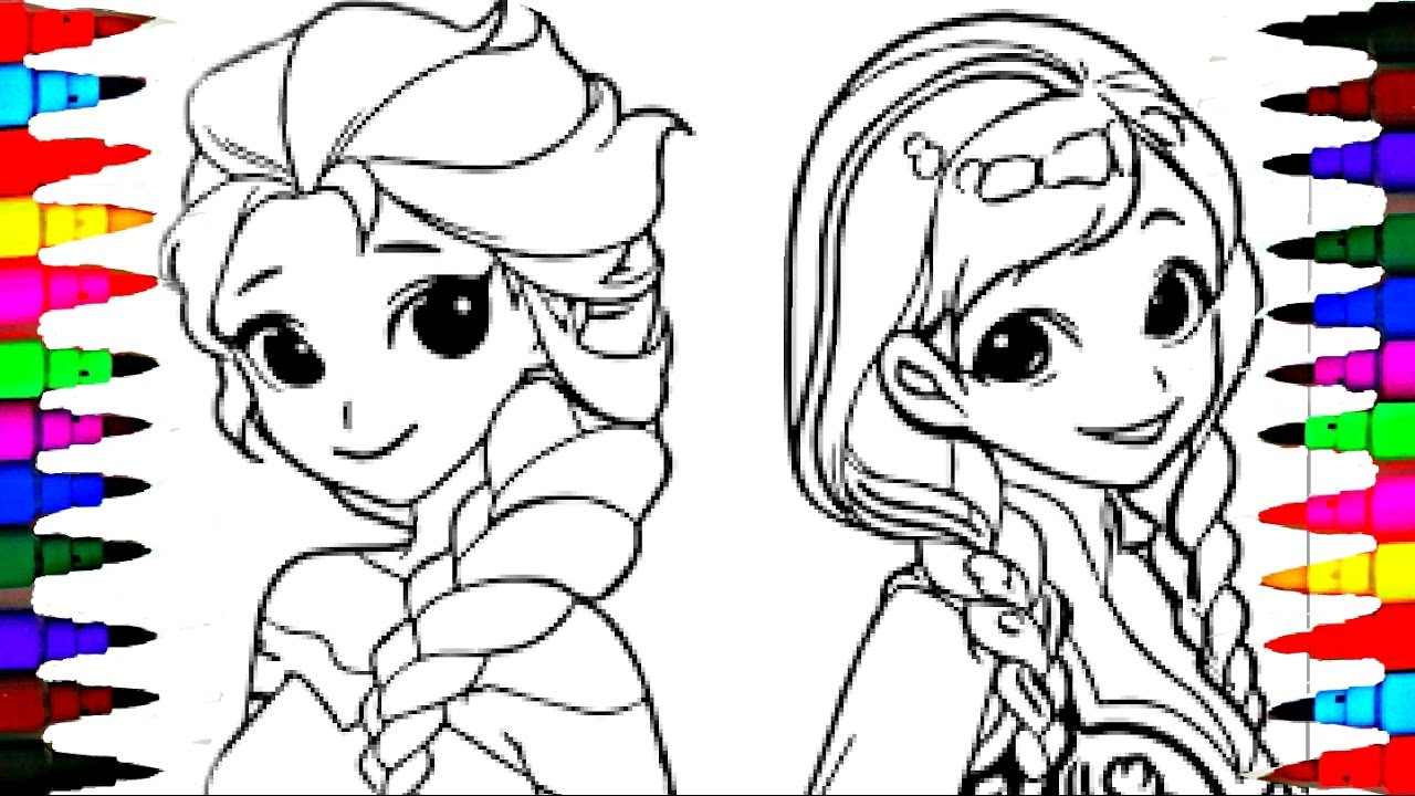 Anna Coloring Pages Coloring Pages Disney Frozen Cartoon Elsa And Anna Coloring Book
