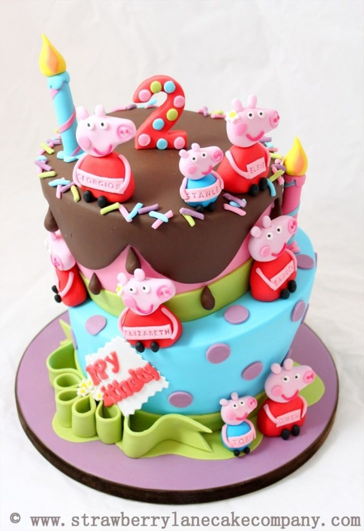 Baby Birthday Cake Peppa Pig And George Joint 2nd Birthday Cake For 6 Babies