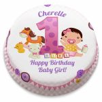 Baby Birthday Cake Personalised Pink First Birthday Girl Cake From 1499