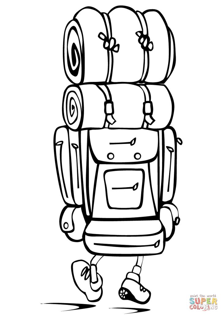 Backpack Coloring Page Camping Backpack Coloring Page Free Printable Coloring Pages
