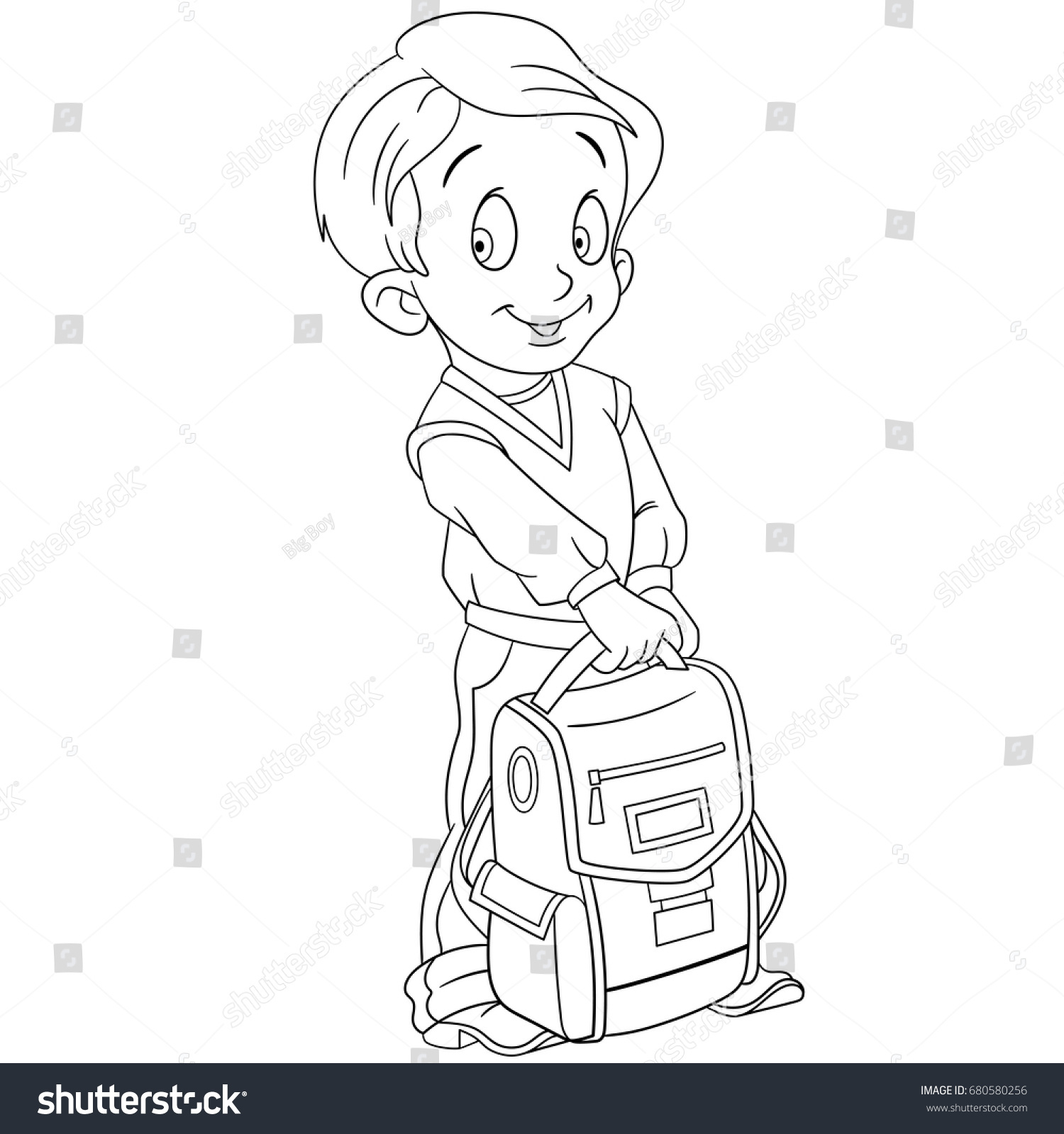 Backpack Coloring Page Coloring Page Schoolboy School Backpack Colouring Stock Vector And