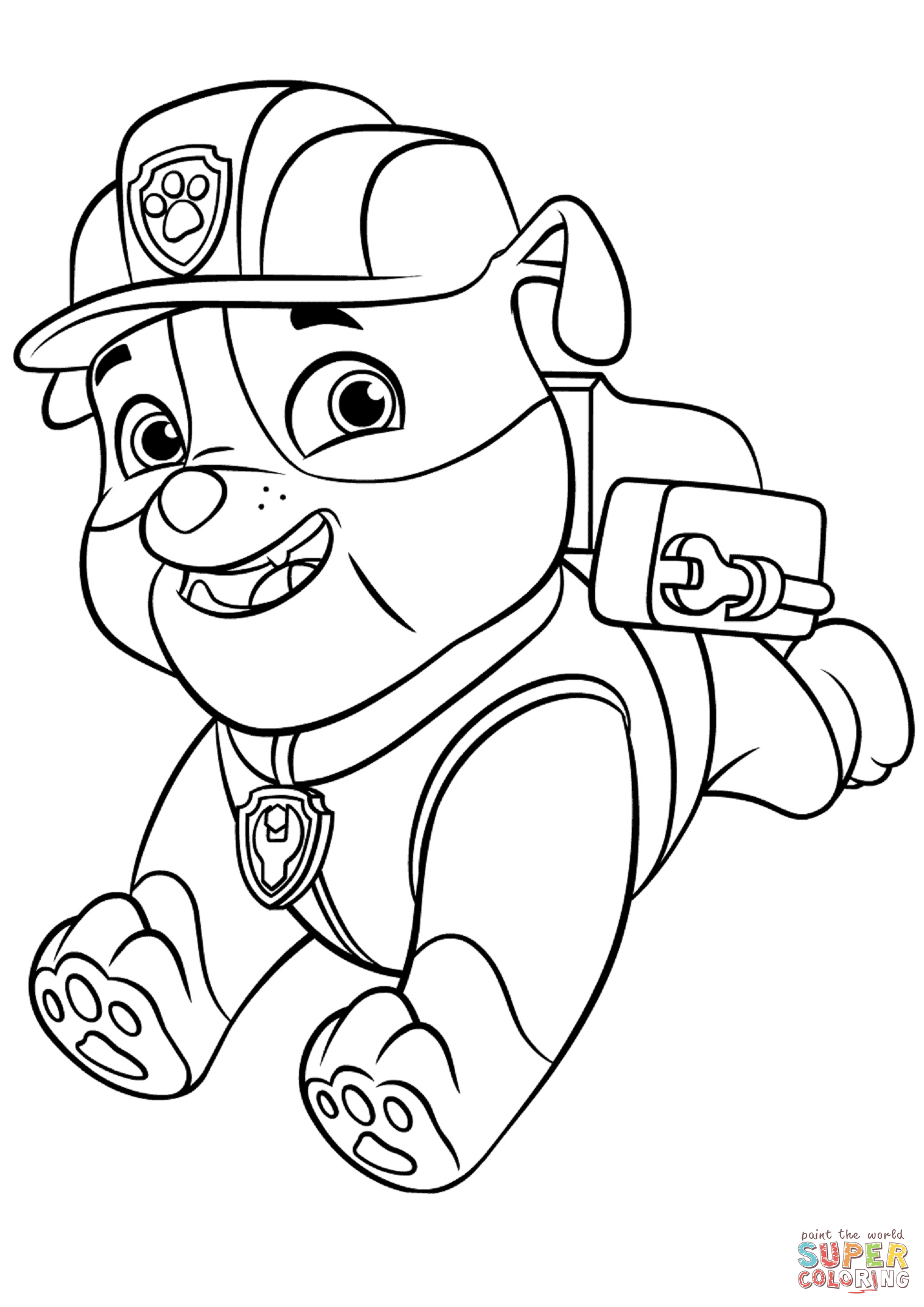 Backpack Coloring Page Paw Patrol Rubble With Backpack Coloring Page Free Printable