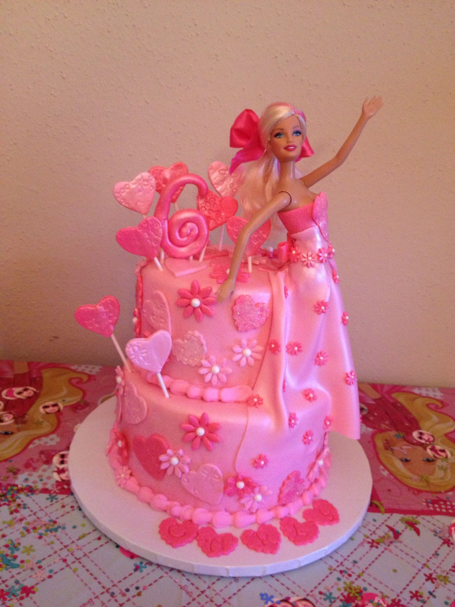Barbie Birthday Cakes Pink Barbie Cake With Pink Hearts And Flowers