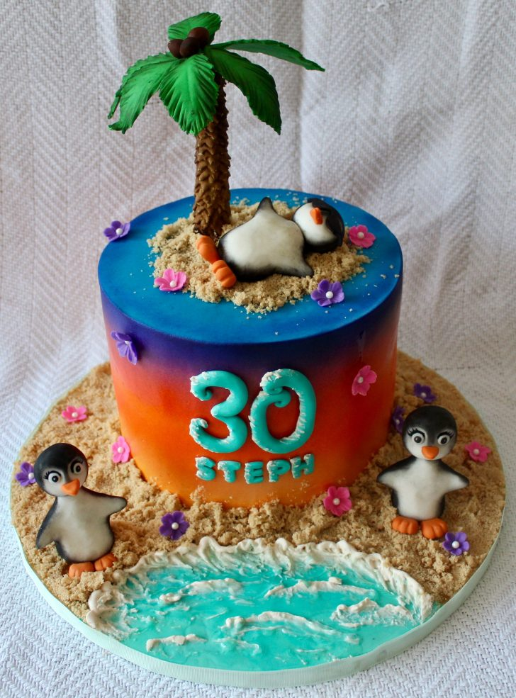 Beach Birthday Cake Tropical Penguin On The Beach 30th Birthday Cake With Ombre And