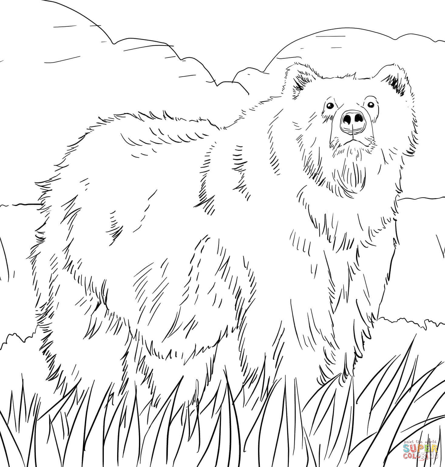Bear Coloring Pages Alaskan Grizzly Bear Coloring Page Free Printable Coloring Pages