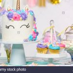 Birthday Cake Cupcakes Little Girl Birthday Party Table With Unicorn Cake Cupcakes And