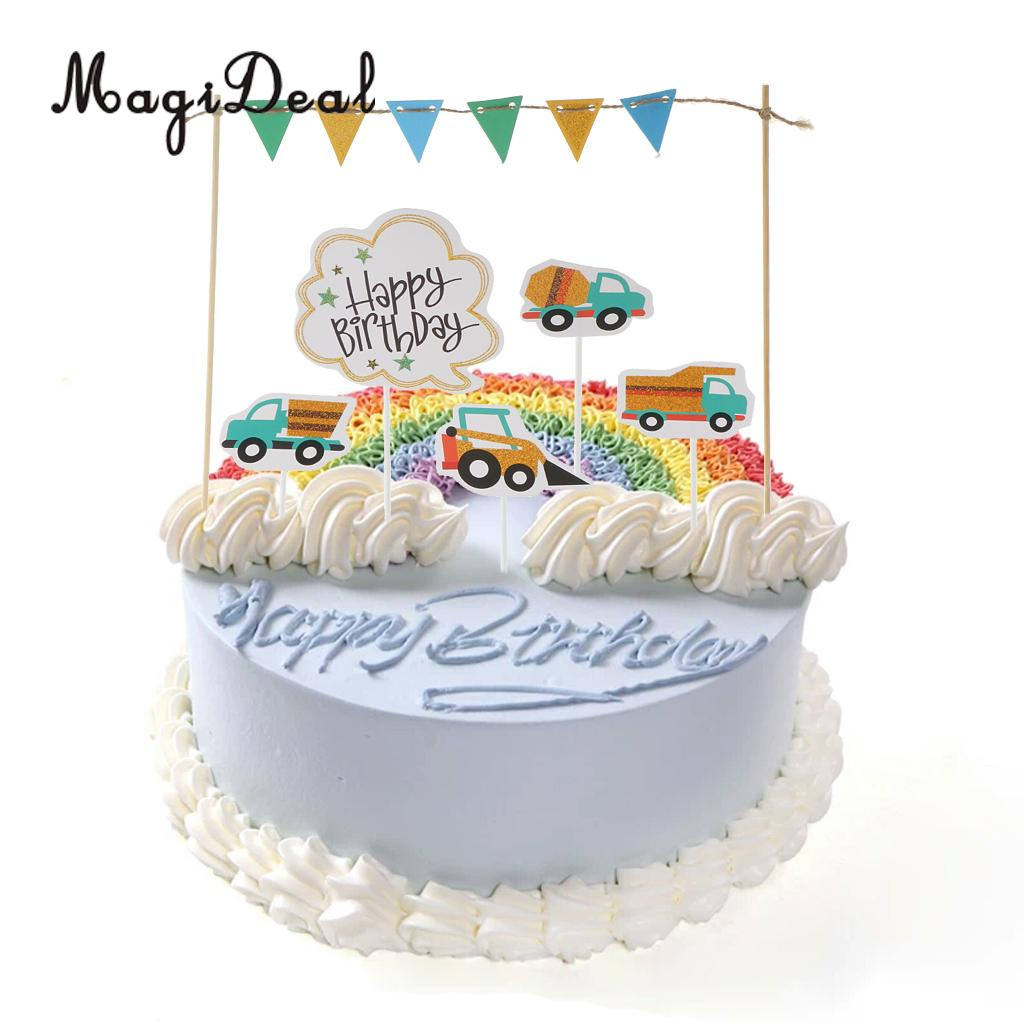 Birthday Cake Image Happy Birthday Cake Topper Banner Fahrzeuge Lkw Bagger Kuchen Picks