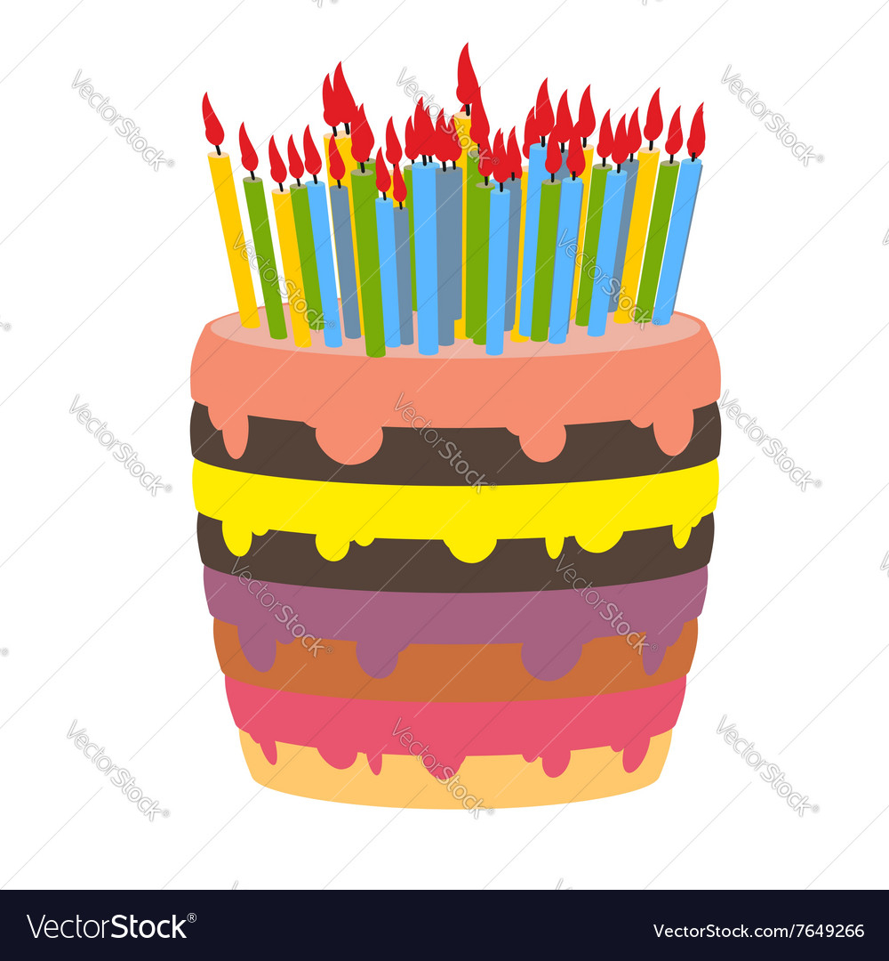 Birthday Cake With Lots Of Candles Birthday Cake And Lots Of Candles Burn Lot Of Vector Image