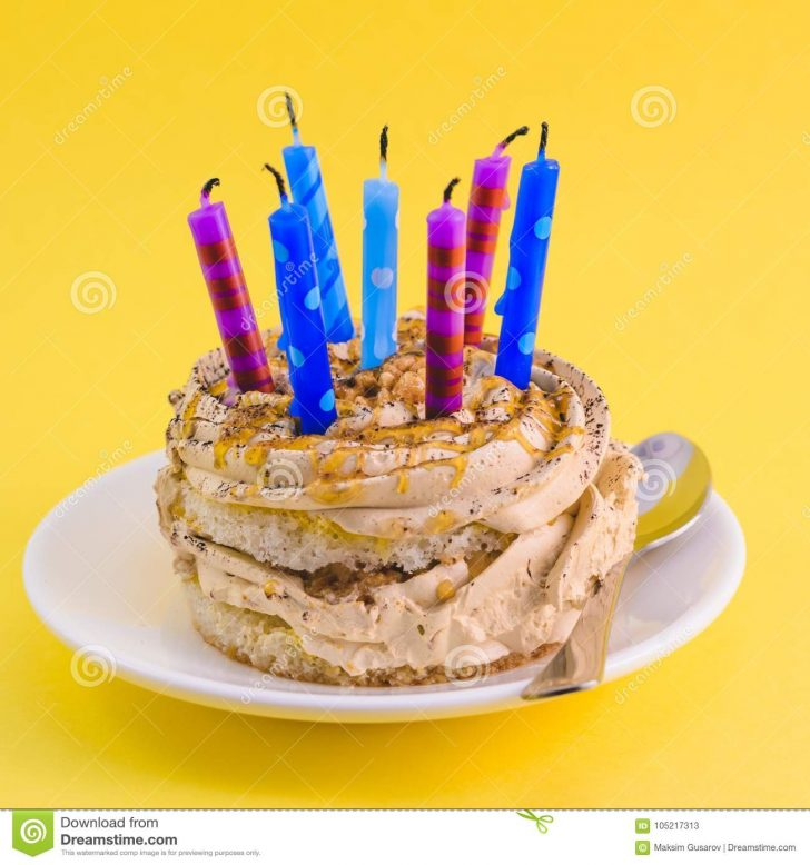 Birthday Cake With Lots Of Candles Chocolate Cake With Cream And Lots Of Candles Stock Image Image Of