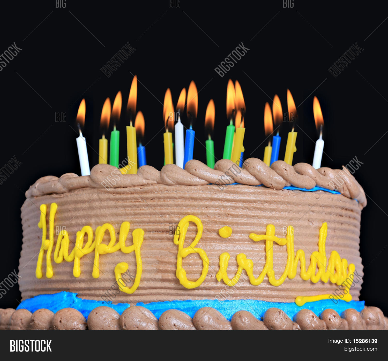 Birthday Cake With Lots Of Candles Happy Birthday Cake Image Photo Free Trial Bigstock