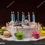 Birthday Cake With Lots Of Candles White Homemade Birthday Cake With Lots Of Burning Candles Near D
