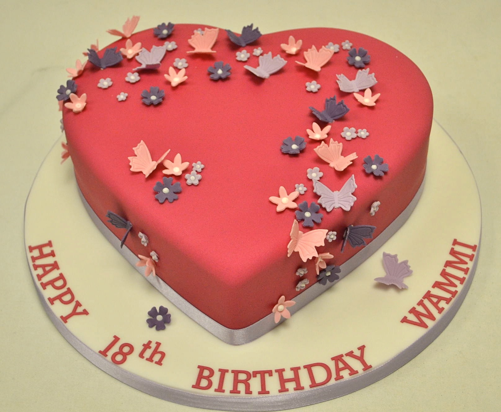 Birthday Cakes For Girls Heart Shaped Blossom And Butterfly 18th Cake