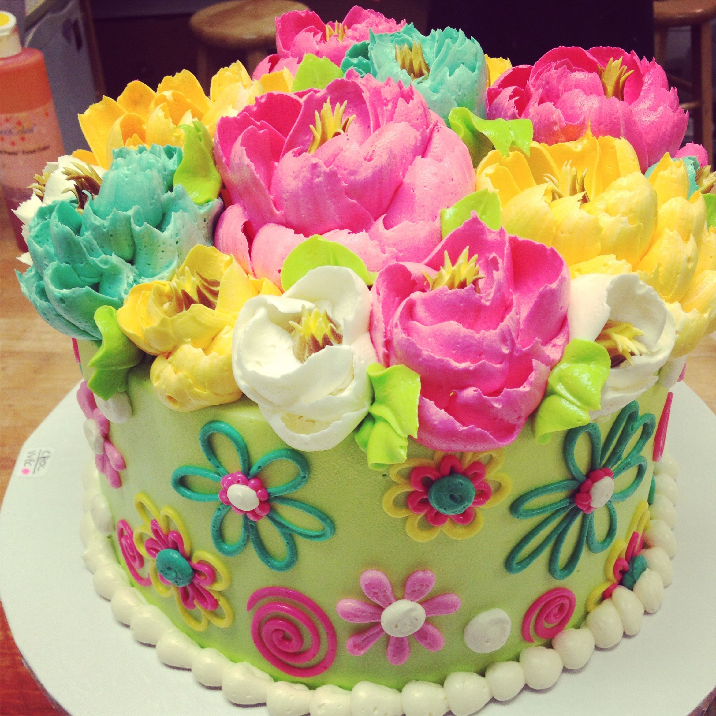 Birthday Flower Cake Adorable Flower Themed Buttercream Birthday Cake From The White