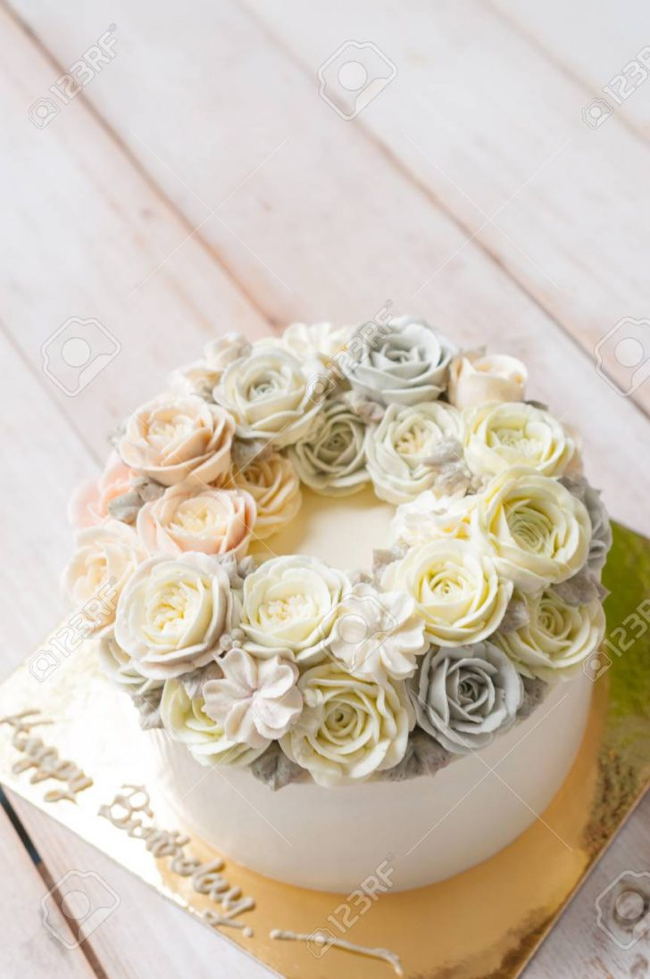 Birthday Flower Cake Happy Birthday Flower Cake Stock Photo Picture And Royalty Free