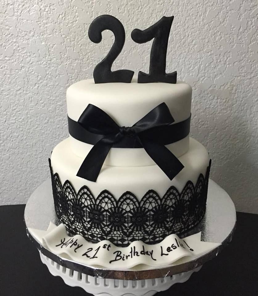 Black And White Birthday Cake Black And White 21st Birthday Cake Lace Black White Satin Cake