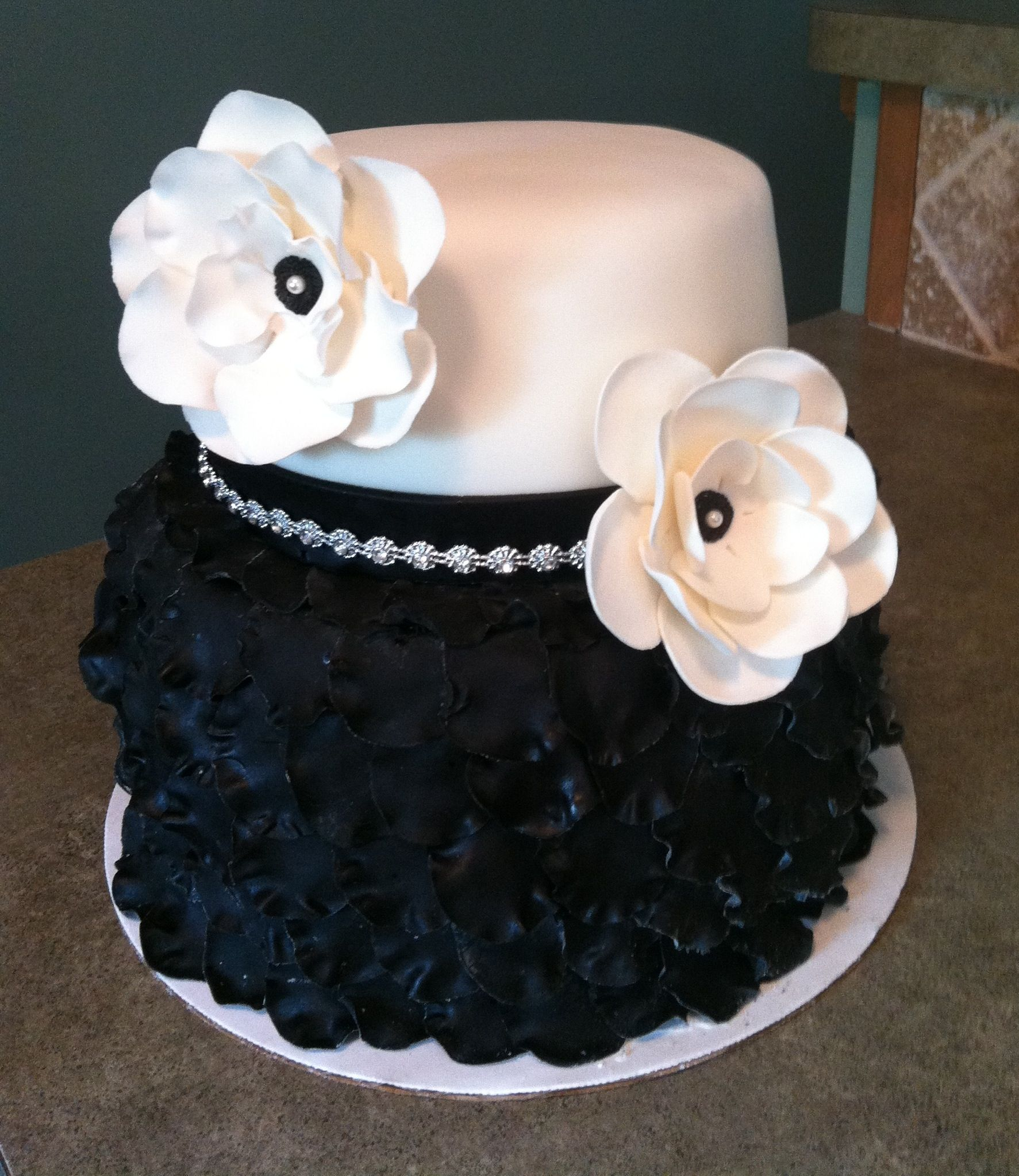 Black And White Birthday Cake Black And White Birthday Cake 2 Tier Petal Cake Two Tier Black