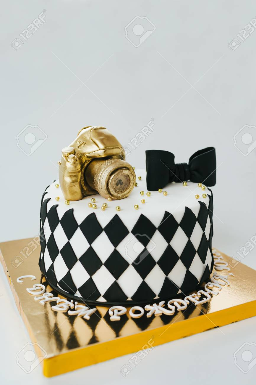 Black And White Birthday Cake Black And White Birthday Cake For Photographer On White Background