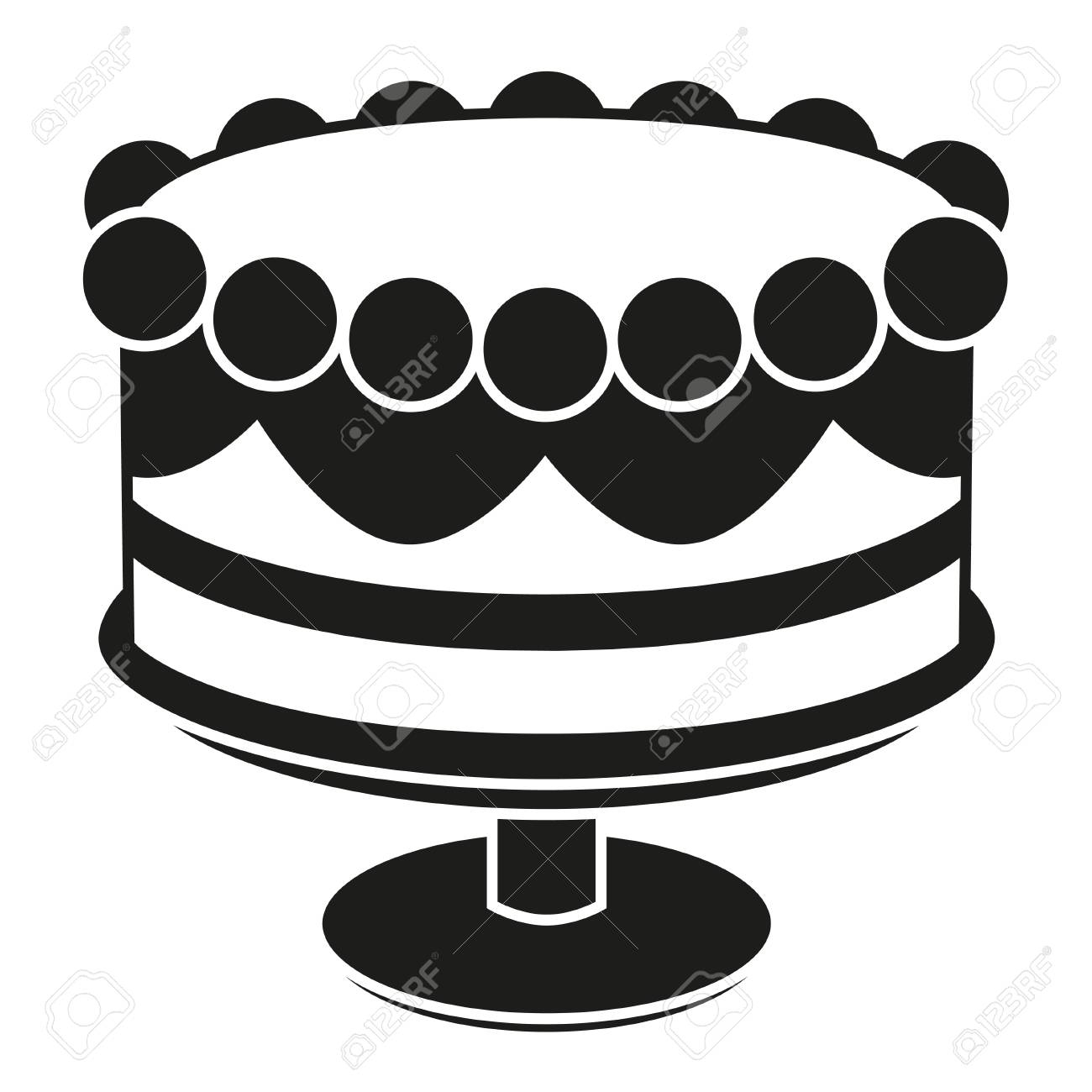 Black And White Birthday Cake Black And White Birthday Cake On Stand Silhouette Sweet Food