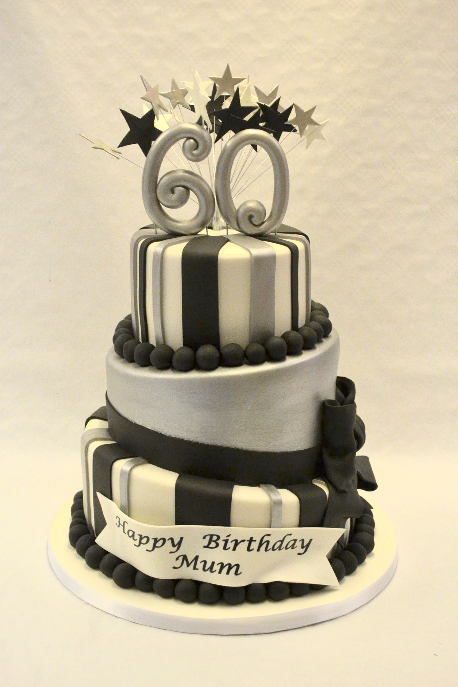Black And White Birthday Cake Black White And Silver Topsy Turvy Cake Girls Birthday Cakes
