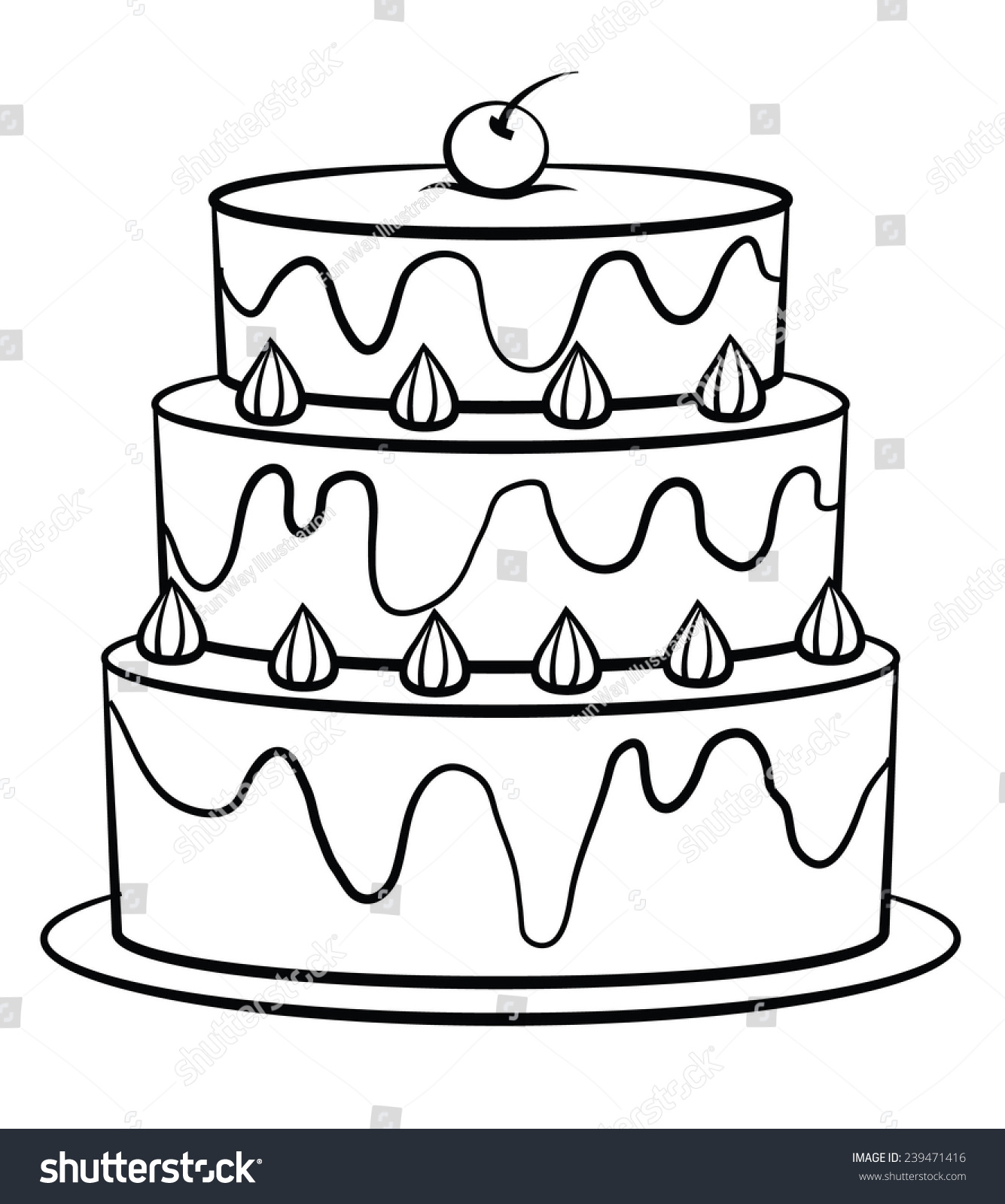 Black And White Birthday Cake Black White Birthday Cake Stock Illustration 239471416 Shutterstock