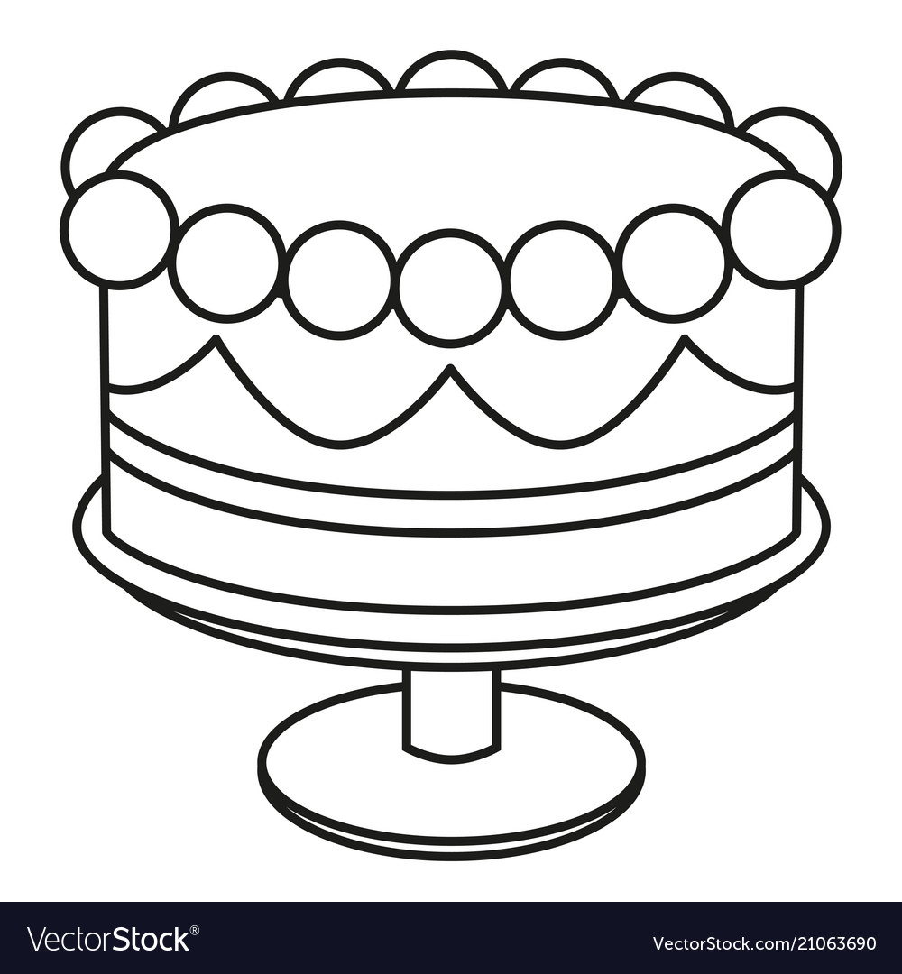 Black And White Birthday Cake Line Art Black And White Birthday Cake On Stand Vector Image