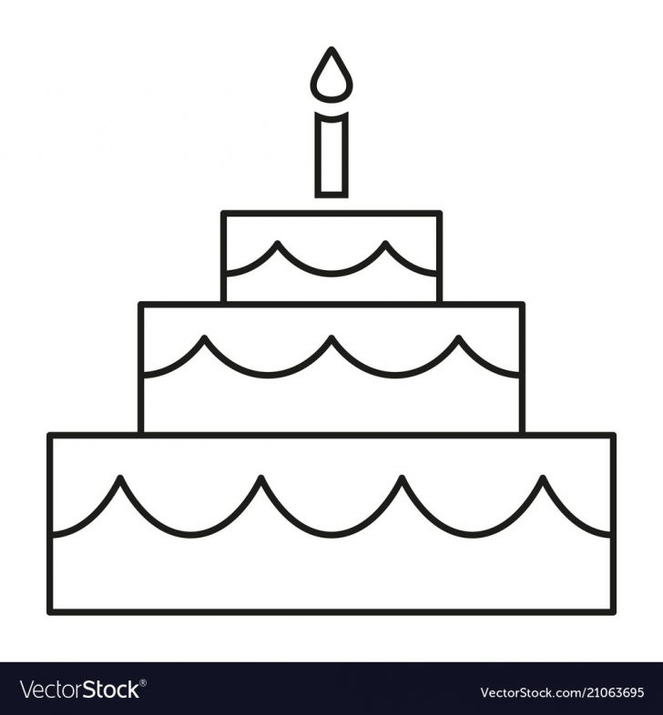 Black And White Birthday Cake Line Art Black And White Birthday Cake Royalty Free Vector