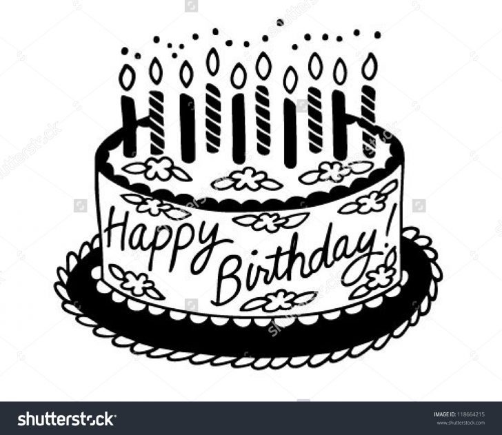 Black And White Birthday Cake Sumptuous Design Ideas Happy Birthday Clipart Black And White Cake