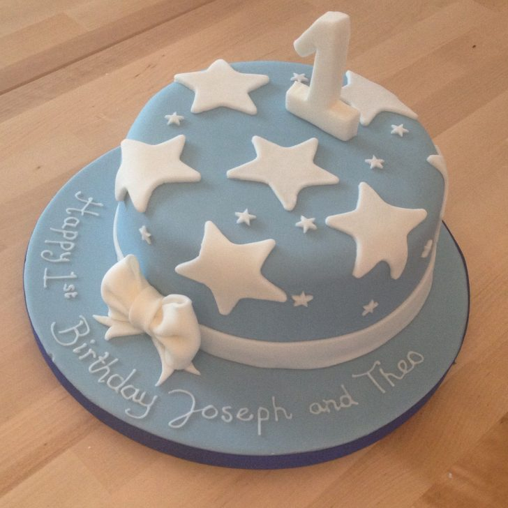 Blue And White Birthday Cake 1st Birthday Cake For A Boy Ba Blue With White Stars White Icing