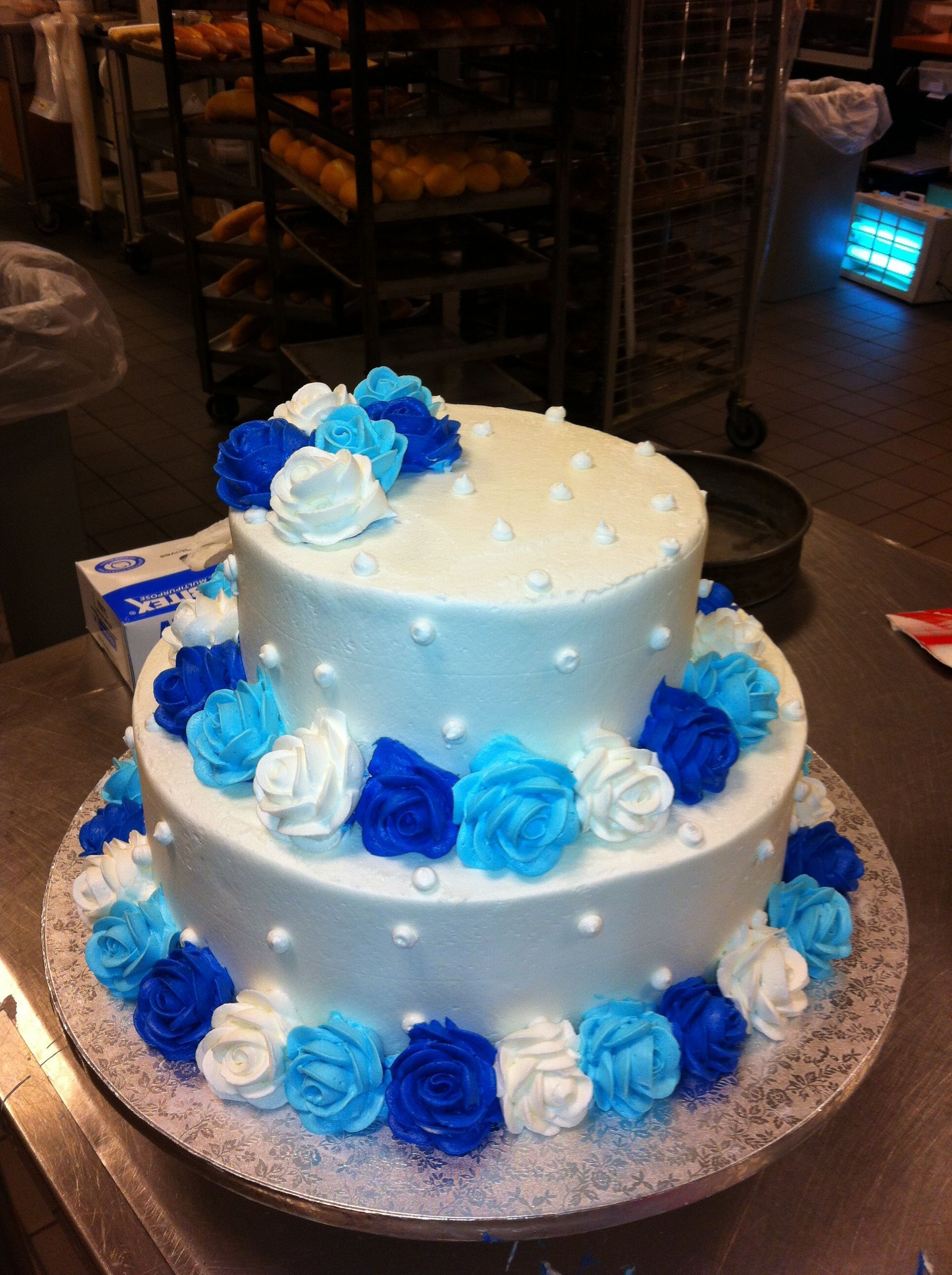 27+ Marvelous Picture of Blue And White Birthday Cake