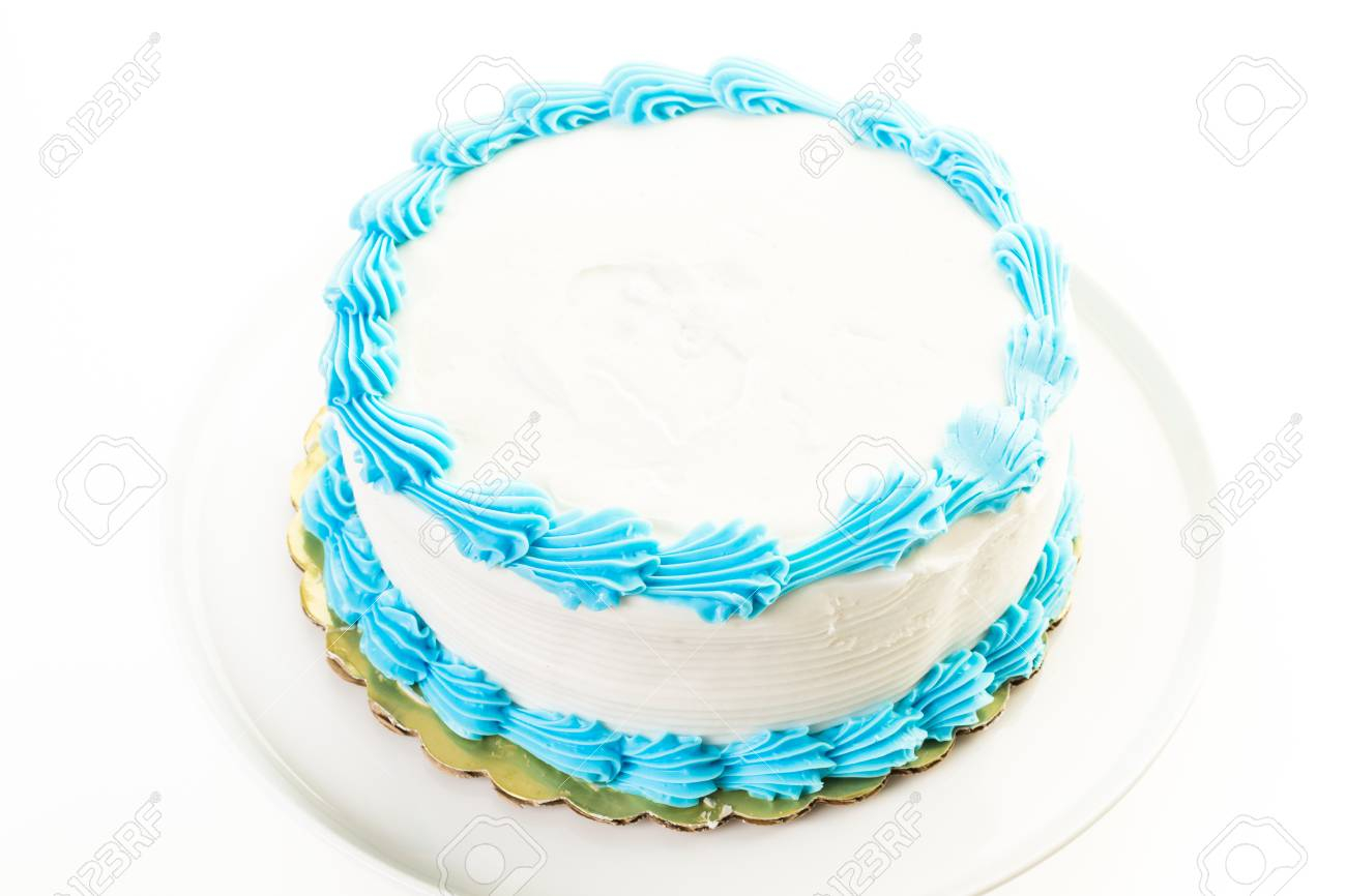 Blue And White Birthday Cake Simple White Birthday Cake With White And Blue Icing Stock Photo
