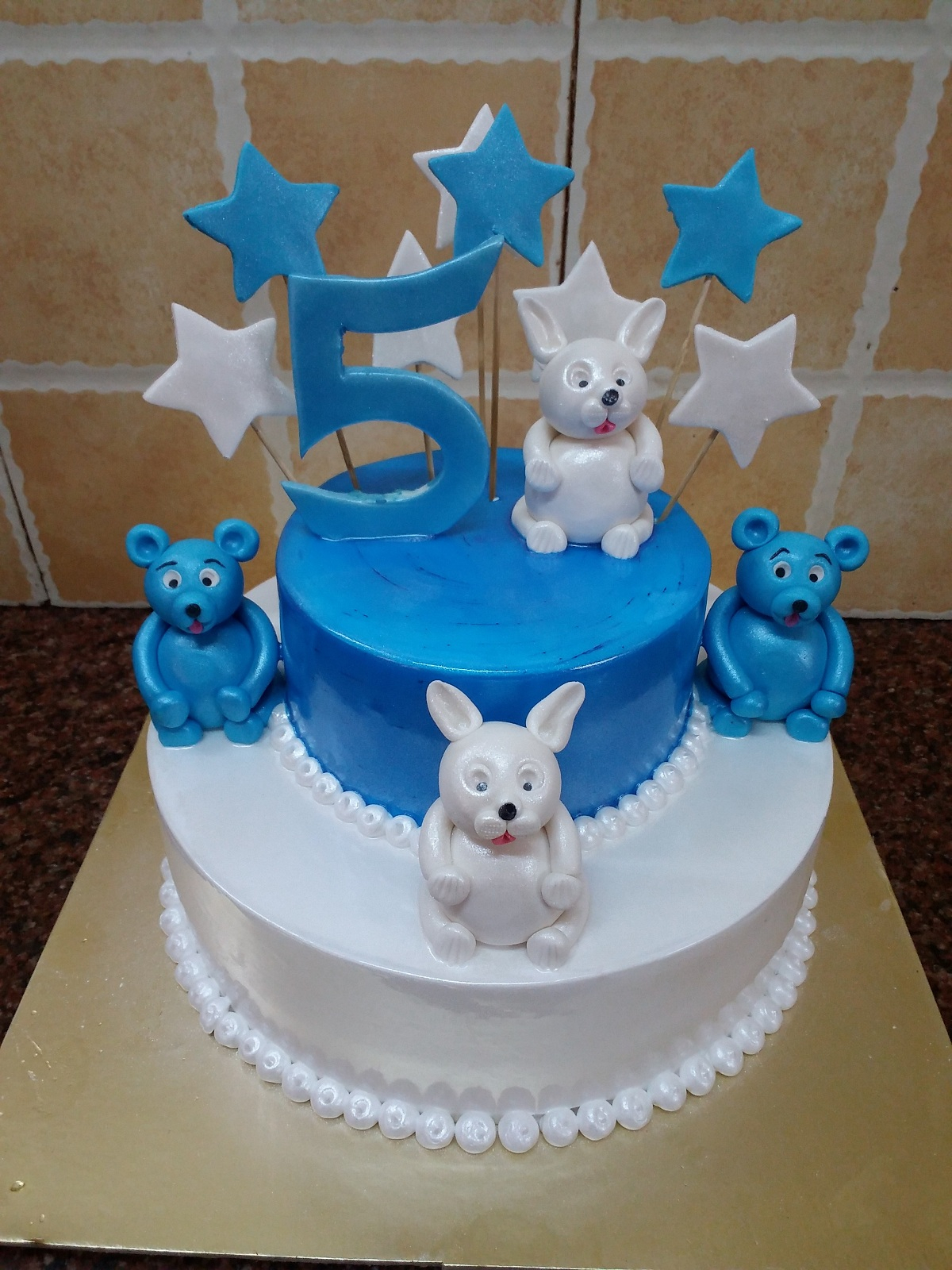 Blue And White Birthday Cake Two Tier Blue White 5th Birthday Cake Mahalaxmibakers