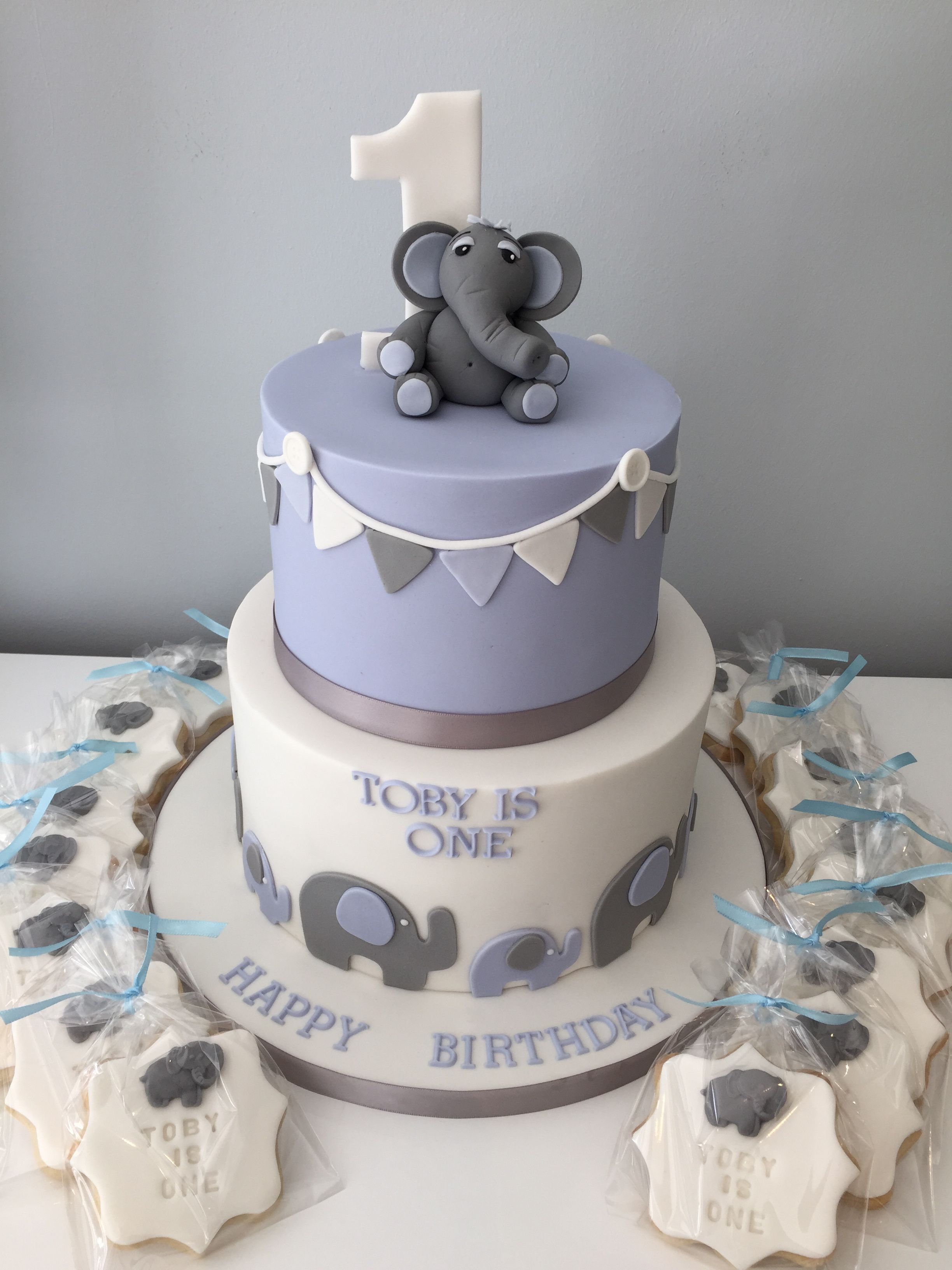 Blue And White Birthday Cake Two Tier First Birthday Cake With Elephant Theme Blue White And